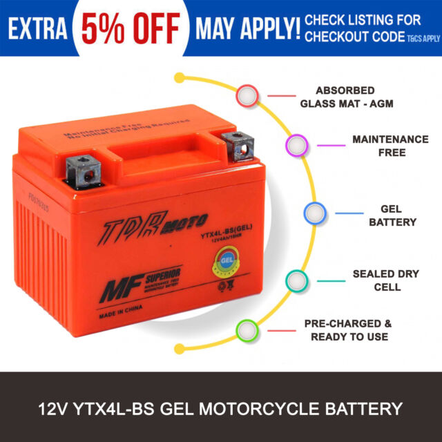 YTX4L-BS YTX4LBS Motorcycle 12V 4AH GEL Battery for Gas Gas 370cc Pampera 1997