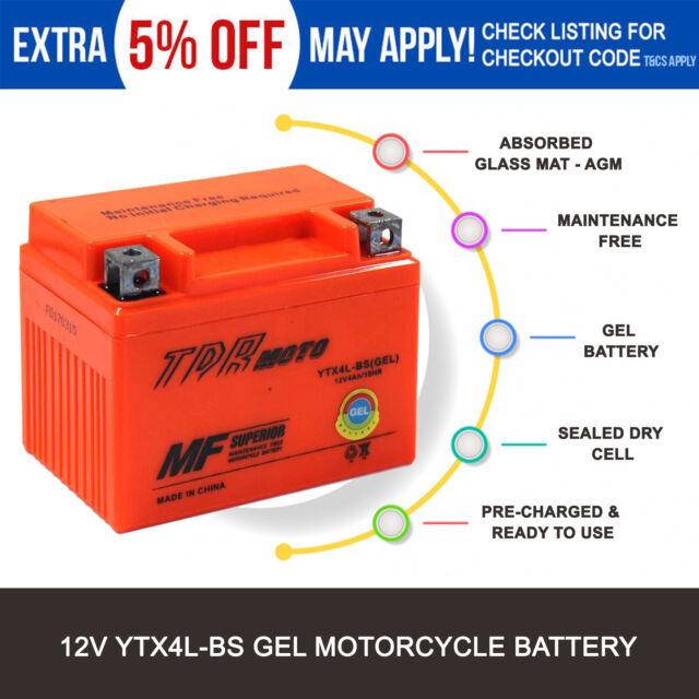 12v YTX4L-BS GEL Battery for Yamaha 125 SX-F XC-F XC-W 2003-2007 CY50 1992-2001