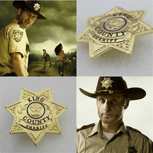 fb390e07e82 US Walking Dead King Country Sheriff Gold Plated Costume Prop Rick ...