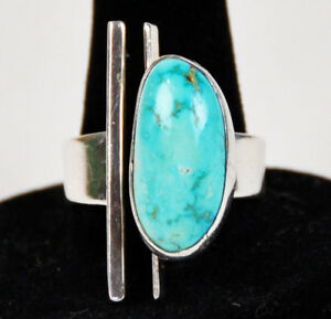 Sterling-Modernist-Robin-039-s-Egg-Turquoise-Ring-Brutalist-Modern-Native-American