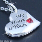 Engraved Heart Necklace Red Crystal Pendant Silver Gifts for Her Women Girls P1