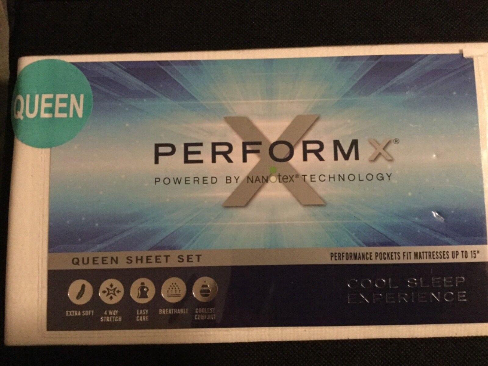 NIP PerformX Cool Sleep Experience Queen  4pc Sheet Set- White