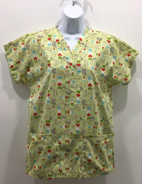 c6876565fe6 Sierra Scrubs Woman's Scrub Top Size XS Light Green Hearts Valentines Day  Nurse