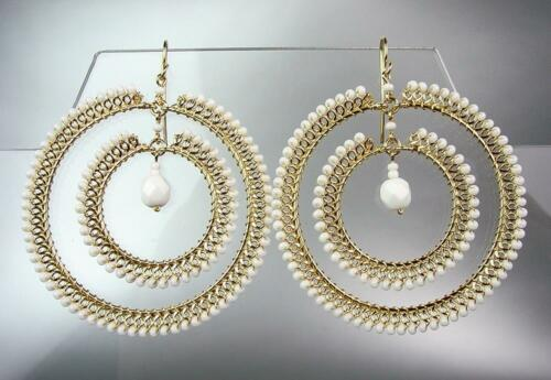 CHIC White Quartz Peruvian Crystal Beads Gold Plated Wire Chandelier Earrings 78