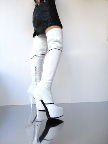 White Cq Couture Stiefel Boots Stivali Overknee Zip Platform 42 Leather Bianco 18w6x1qfB