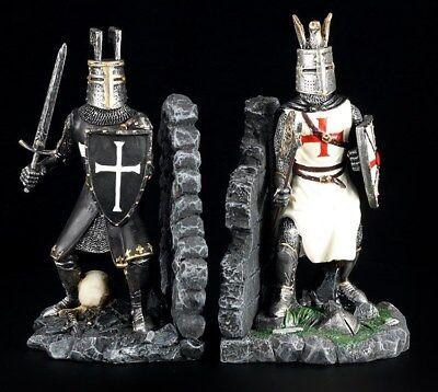 Kreuzritter Templer Tempelritter Buchstützen Paar Ritter Figuren
