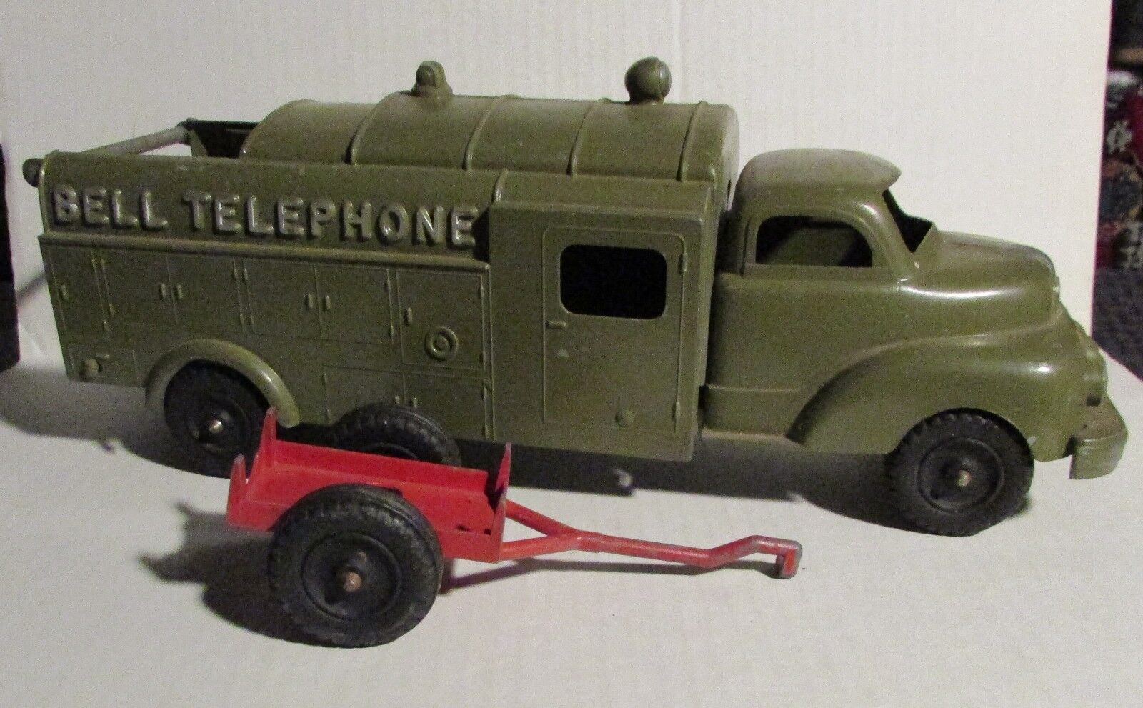 Vintage 13  Hubley Kiddie vert Bell Telephone camion  504 avec remorque FN + 6.5