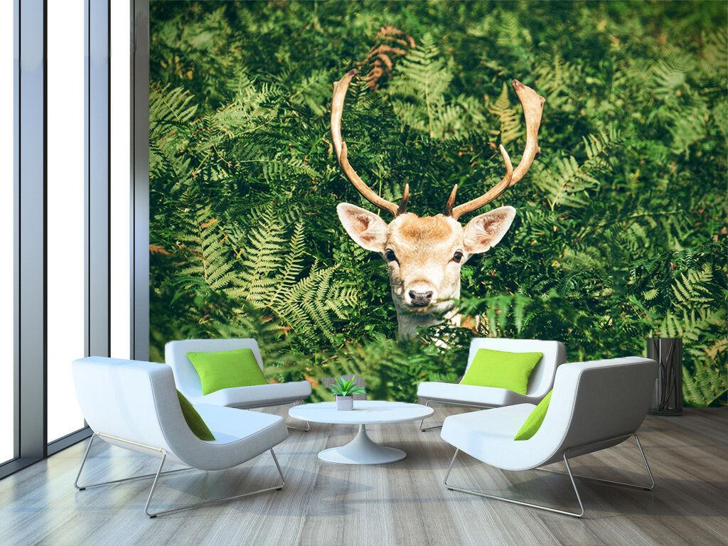 3D Grün Leaf Deer 724 Wallpaper Mural Paper Wall Print Wallpaper Murals UK