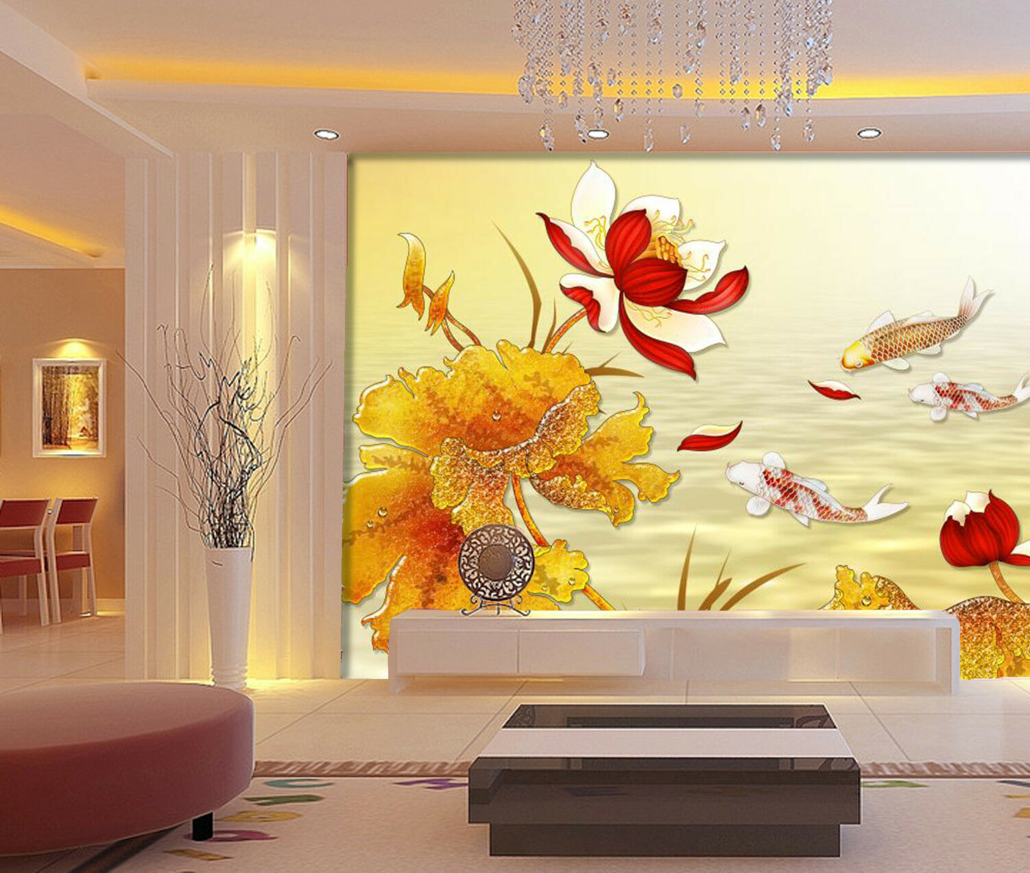 3D rot Lotus Paint Wallpaper Murals Wall Print Wallpaper Mural AJ WALL AU Lemon