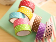 LOT 24 mètres MASKING TAPE MULTICOLORE ARC EN CIEL A POIS RAINBOW AUTOCOLLANT