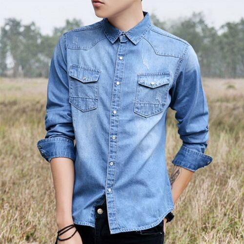 Fashion Men's Denim Jeans Shirt Casual Autumn Long Sleeve Denim Cotton Shirt