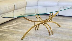 MID-CENTURY-SURFBOARD-SHAPE-BRASS-amp-GLASS-COCKTAIL-TABLE-HOLLYWOOD-GLAM-ERA