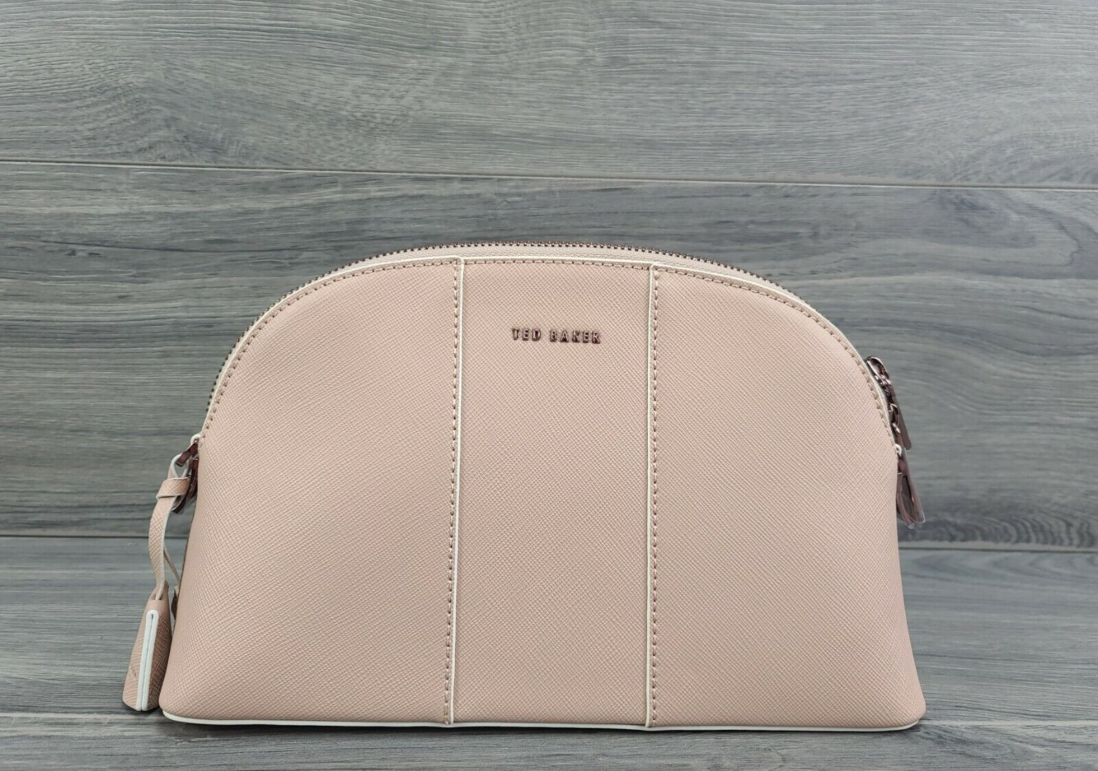 Ted Baker Crossbody Small Crosshatch Leather Barbrie Dome Handbag (Taupe)