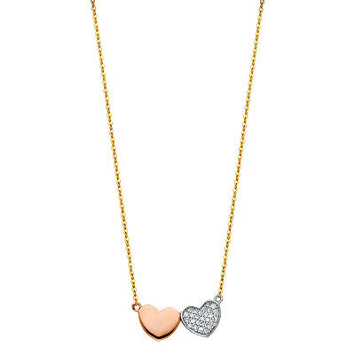 "Real 14K White Gold CZ Key Heart Pendant Charm Rolo 18/"" Chain Necklace Set Women"