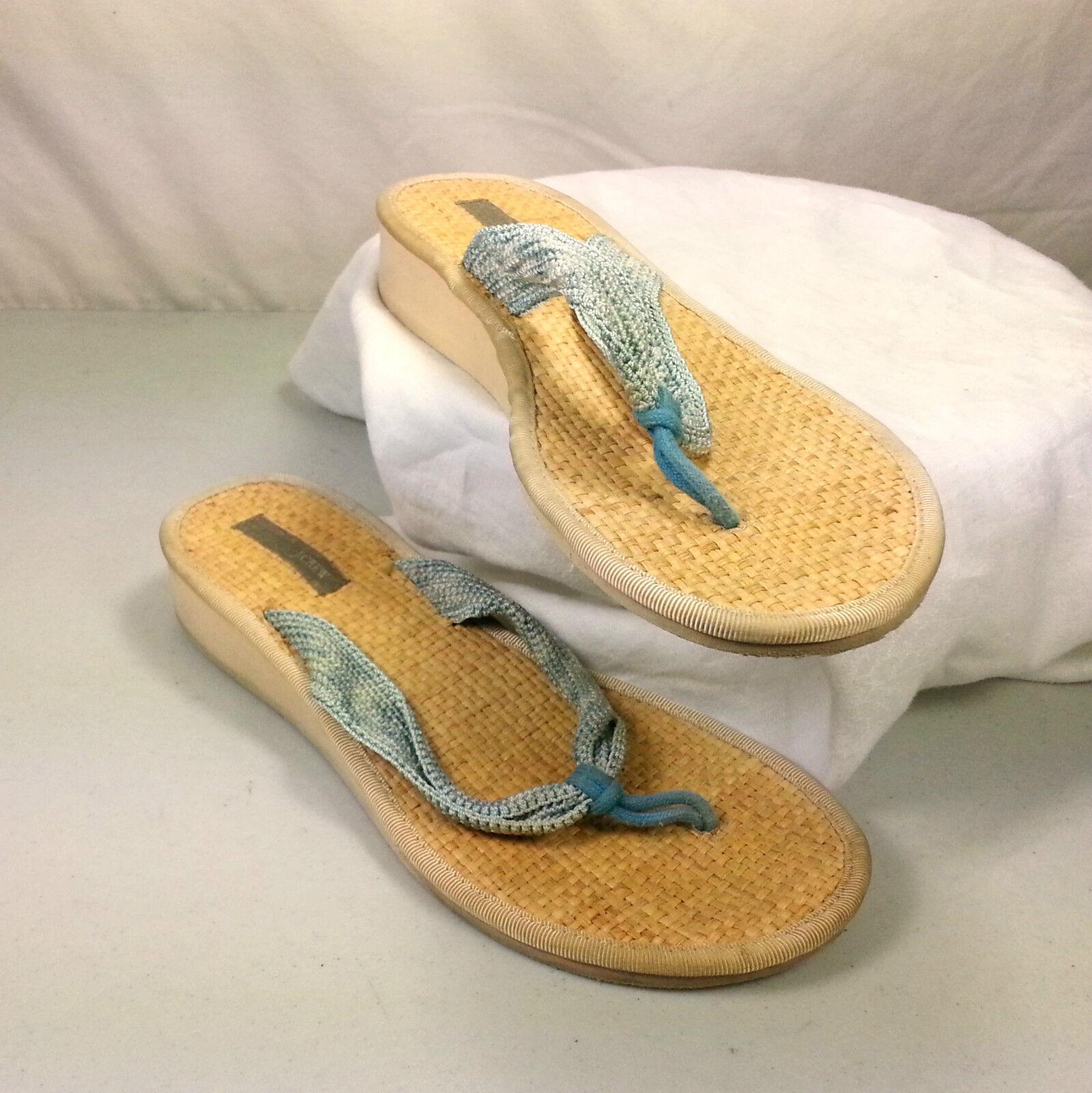 J. Crew Womens Flip Flops Sandals Blue Bed Strap Basket Weave Foot Bed Blue Size 6 b6780e