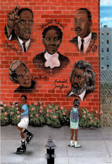 Black History African American MLK Jr. Malcolm X Art Poster Poster Print, 13x19