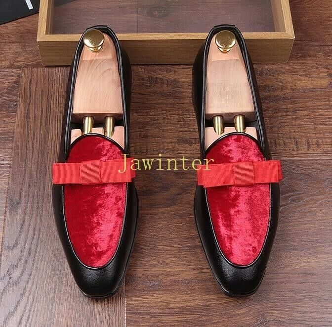 Men's rosso Bow Pointed Toe Slip On Loafers Hidden Wedge Nightclub Leisure scarpe