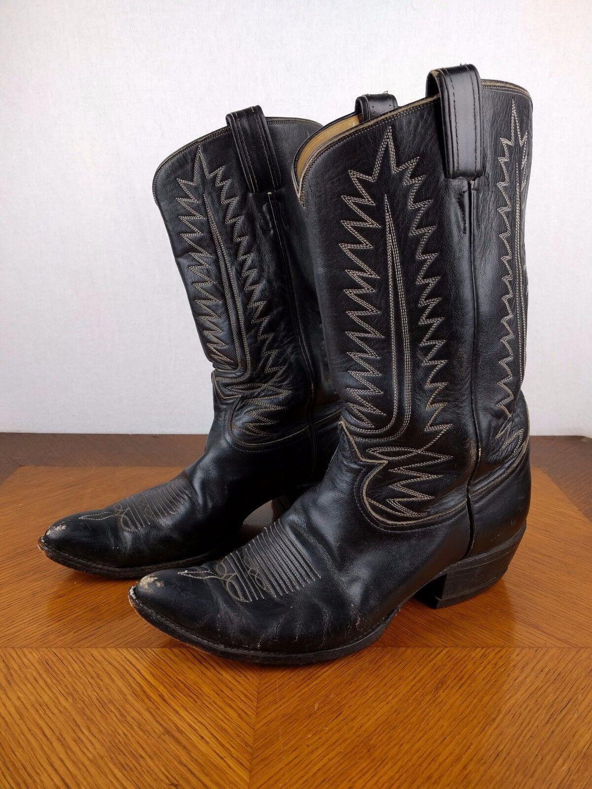 Vintage Tony Lama Negro botas De Vaquero Zapatos para hombre 10 1 2 D Usa occidental de cuero de toro