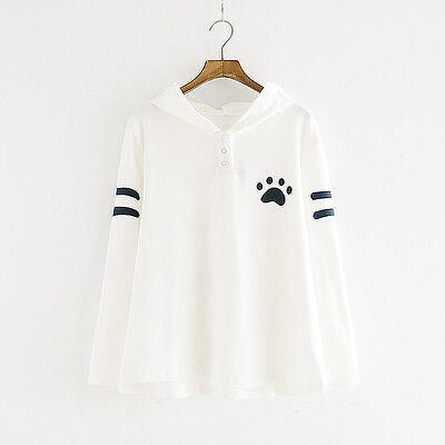 Lovely Orejas De Gato Sudadera Con Capucha Camiseta Top Informal COSPLAY
