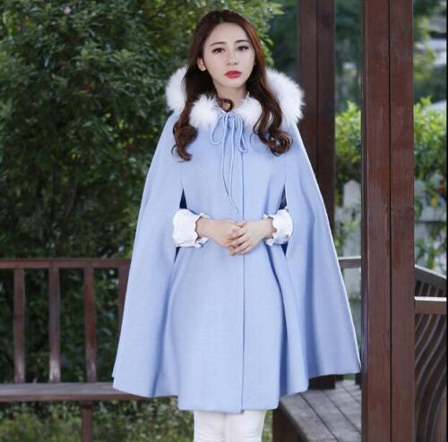 Kvinder Poncho Coat Uld Jakker Cape Collar Varm Cloak Hooded Faux Fur Blend rn6vxqYrAU