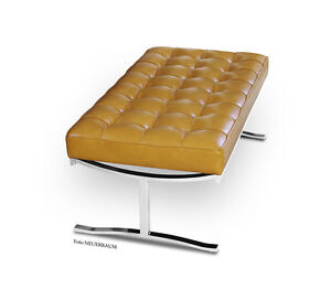 Corto-elegante-Bauhaus-Banco-100-cm-acero-inoxidable-amp-Cuero-Natural-160