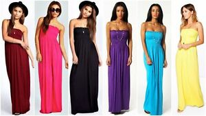 Women-039-s-Casual-Sheering-Beach-Long-Bandeau-Shirred-Summer-Plus-Size-Maxi-Dress