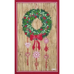 BEAUVILLE-French-Kitchen-Dish-Tea-Towel-Christmas-Holiday-Wreath-Hand-Printed