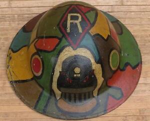 Original-WWI-US-31st-Railway-Engineers-Camo-Painted-Brodie-Helmet-Railroad