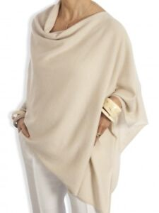 CASHMERE-Poncho-CREAM-CAPE-Wrap-One-Size-Fits-All-FREE-UK-Shipping