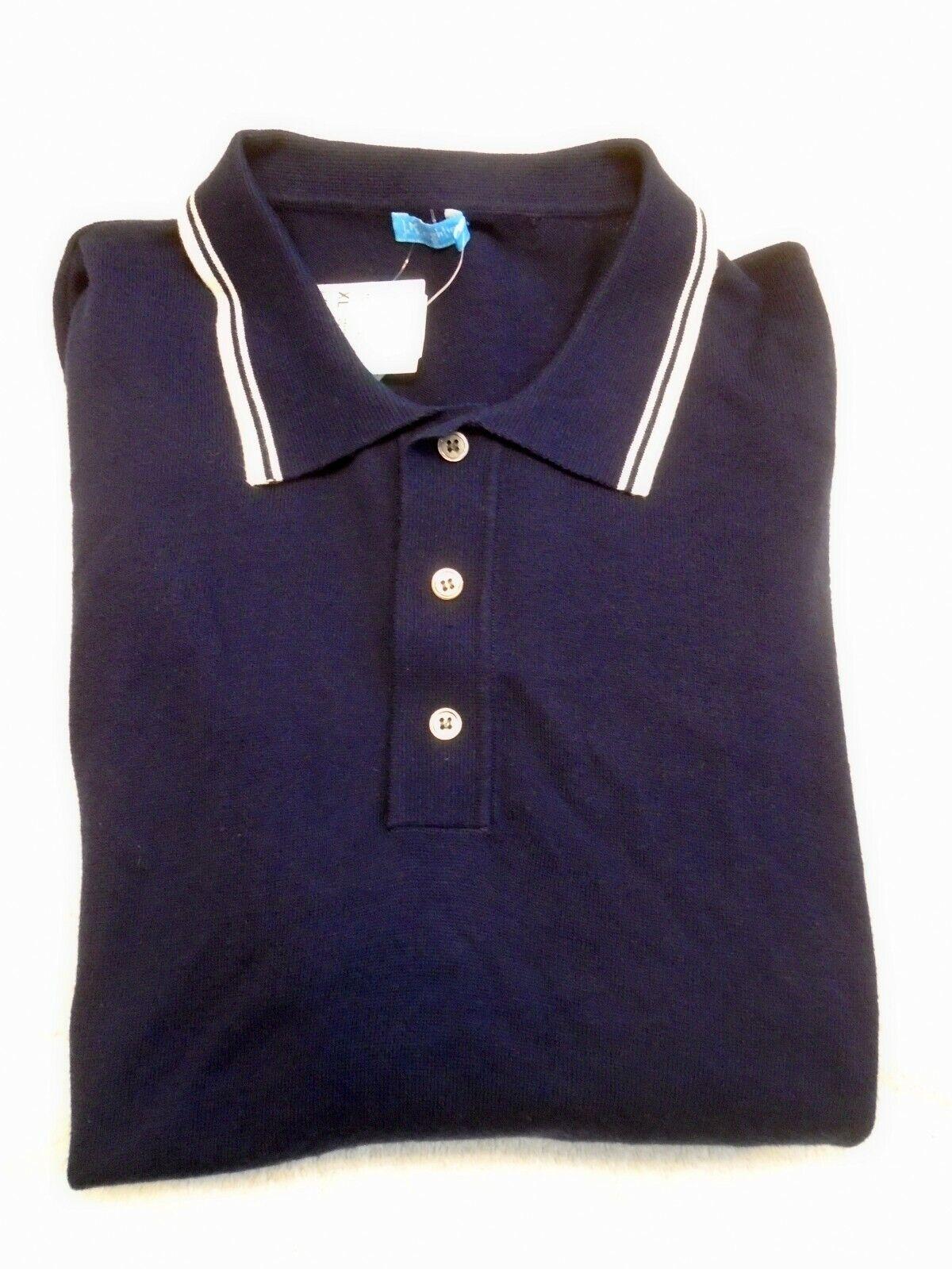 J McLaughlin Cotton Blend Knit Long Sleeve Polo Shirt NWT XL  Navy bluee