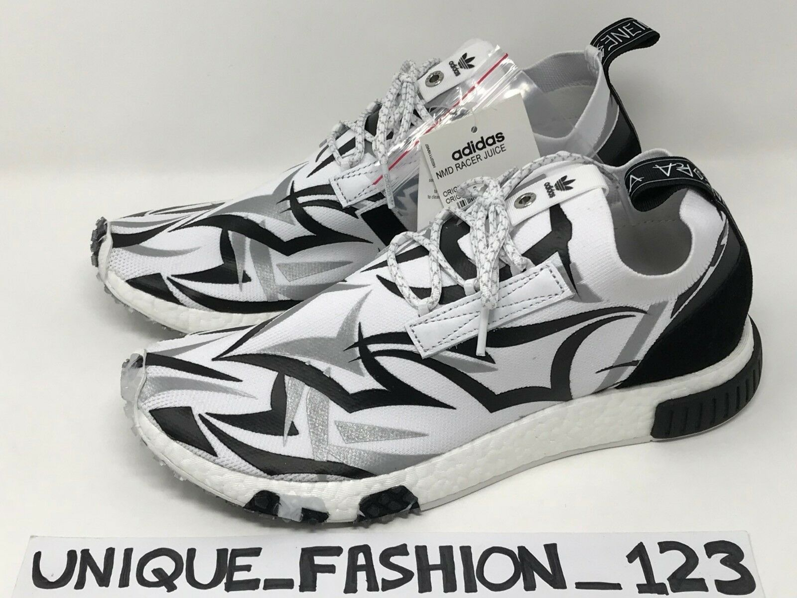 ADIDAS NMD RACER X JUICE US 9.5 CONSORTIUM FRIENDS AND FAMILY WHITE