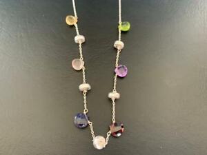 925-Silver-Citrine-Peridot-Rose-Amethyst-Iolite-Garnet-Multi-Gemstone-Necklace