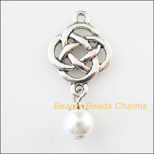 8Pcs Tibetan Silver Tone Chinese Knot White Glass Beads Charms Pendants 18x37mm