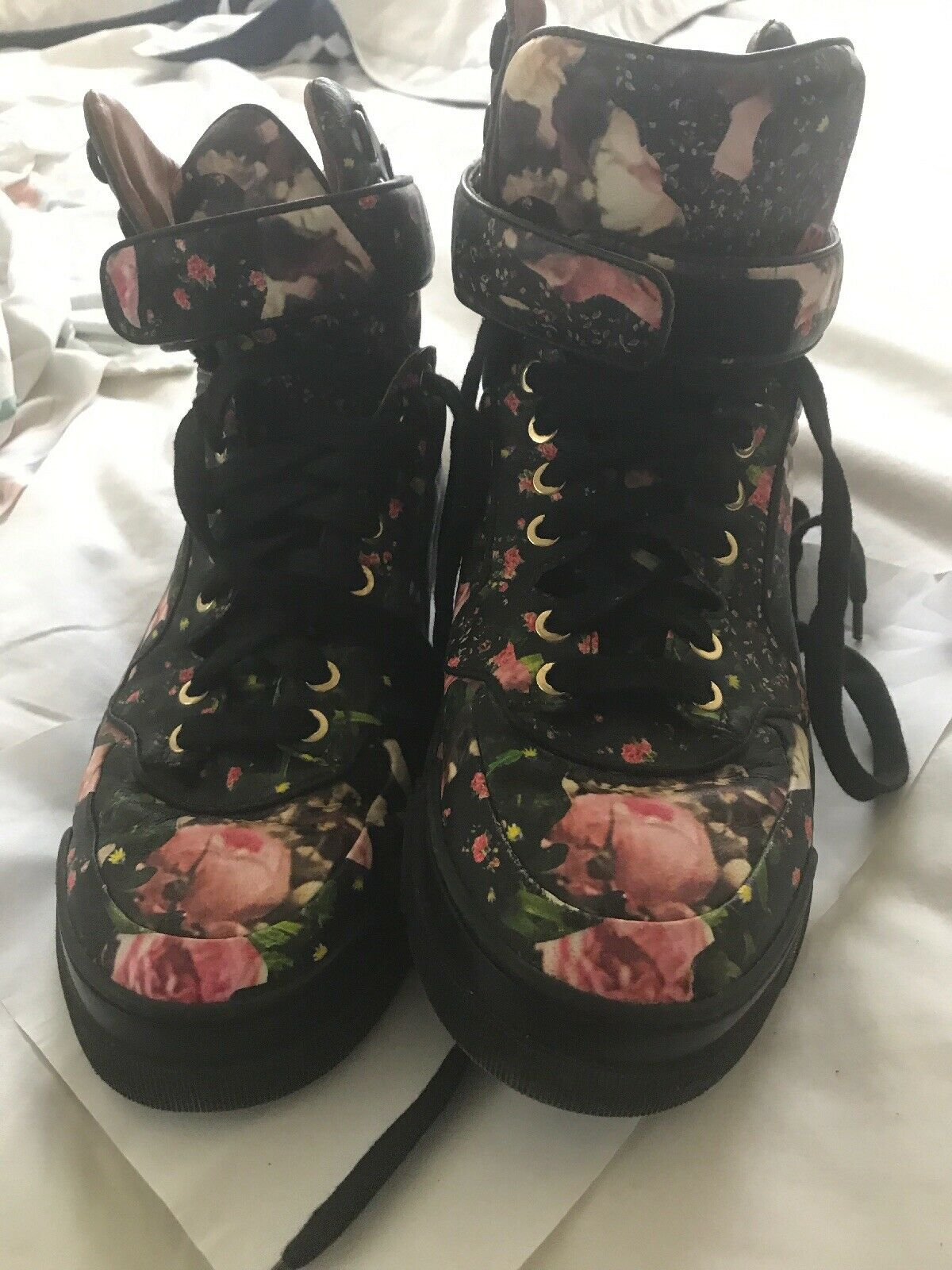 GIVENCHY floral High-top sneakers lace-up belt size 39 (K48360 Great