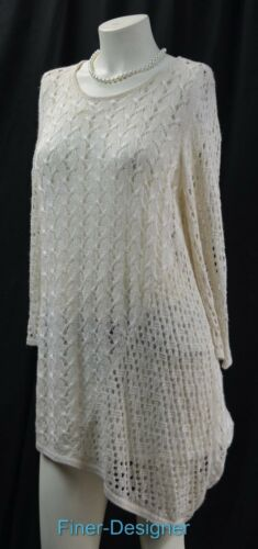 Sweater Top Shimmer Knit L M Metallic Nuovo 2 Chicos Chico Asimmetrico Open Cream dEYdTq