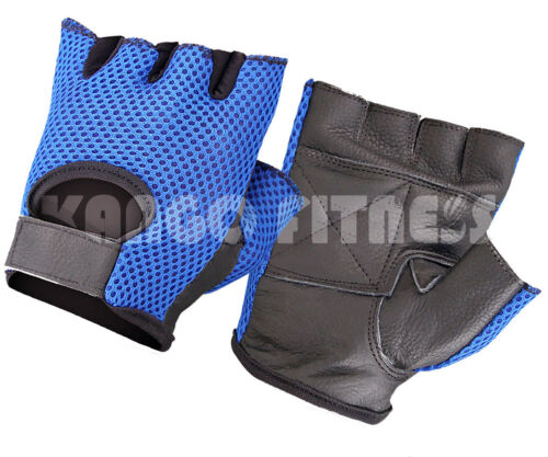 ALL PURPOSE PADDED MESH LEATHER GYM TRAINING FITNESS CYCLING SUPER SPORTS GLOVES