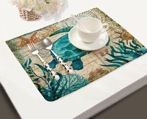 Sea-Table-Mats-Sea-Creature-Mat-Decorative-Placemat-Home-Kitchen-Decor-New-2pcs
