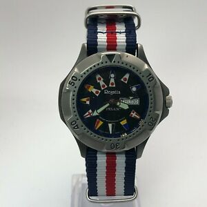 Telux Mens Regatta 85228-304 Date Day Indicator Analog Wristwatch Nylon Strap