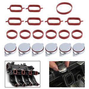 6X 33mm Swirl Flap Blanks +Intake Manifold Gaskets Set For BMW M47N M57N M57TU