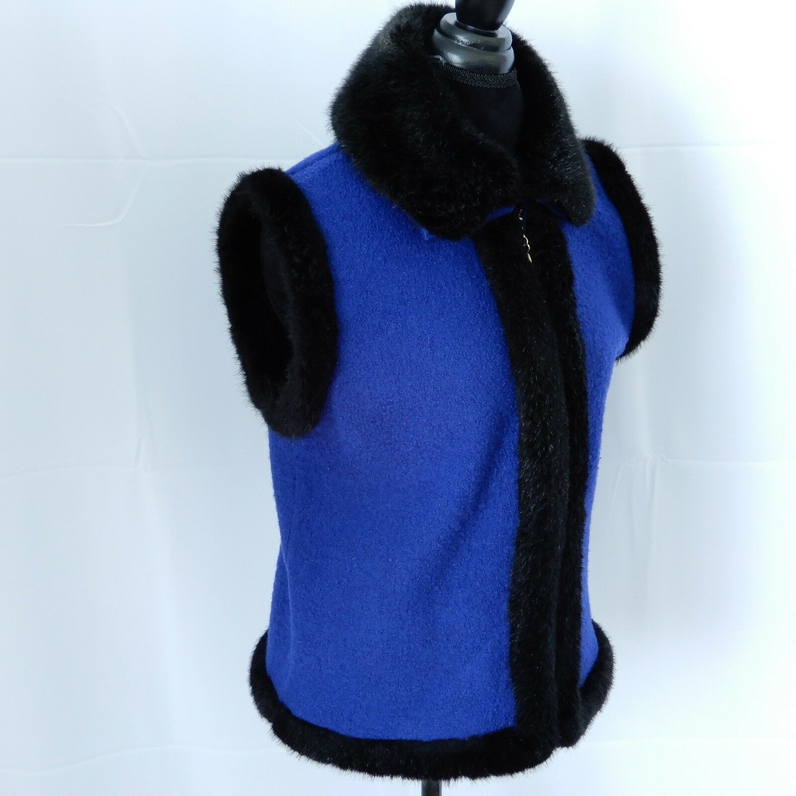 Lisa International Vest Size Medium bluee bluee bluee Boiled Wool Faux Fur Detachable Collar 66e511