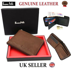 Designer-Buono-Pelle-Real-Genuine-Mens-Quality-Leather-Wallet-Zip-Card-Id-Gift