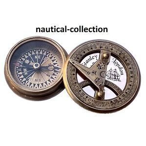 Antique Finish Brass Sundial Compass Old Vintage Pocket Style Compass Nautical