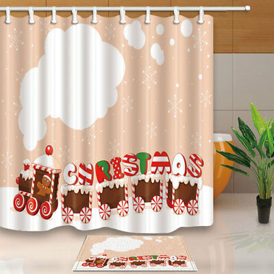 Gingerbread man and girl Shower Curtain Bathroom Decor Fabric /& 12hooks 71*71in
