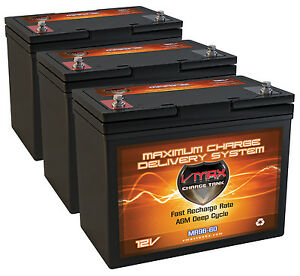 Qty 3 Vmax Mr96 Agm Deep Cycle Marine Battery Ideal For