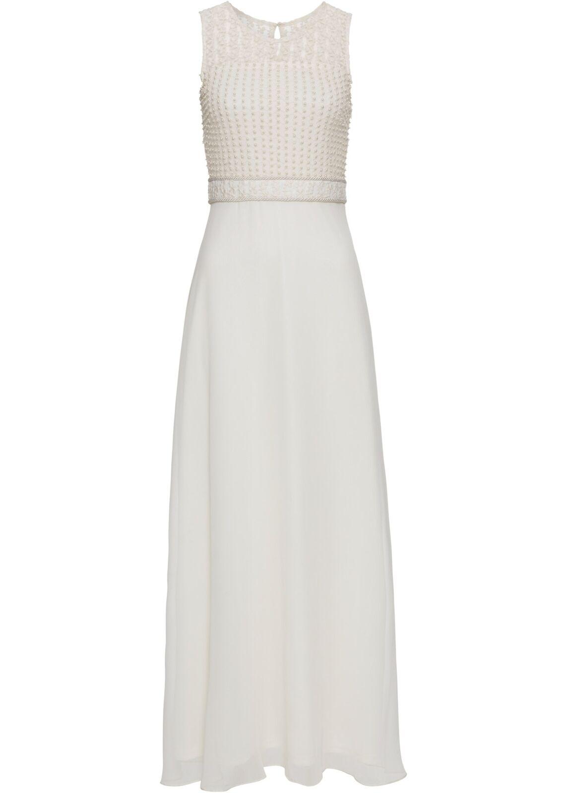 Abendkleid Pailletten Gr. 34 Creme Damen Maxi-Kleid Eventkleid Cocktailkleid Neu