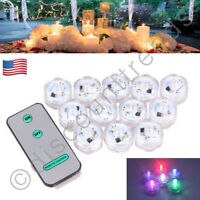 12 Waterproof Led Submersible Lights Rgb For Vase Wedding Party Decors W/ Remote