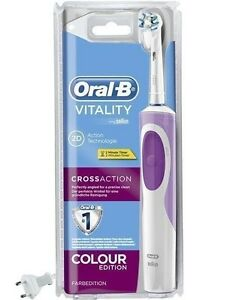 Details about Oral B Vitality Cross Action Electric Rechargeable Toothbrush Color Edition Pink