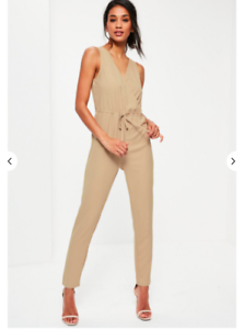 Missguided Beige Sleeveless Wrap Drawstring Waist Jumpsuit Size 4