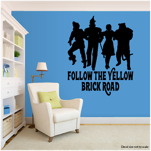 """FOLLOW THE YELLOW BRICK ROAD WIZARD OF OZ THEME INSPIRED LARGE WALL DECAL 22/"""""""