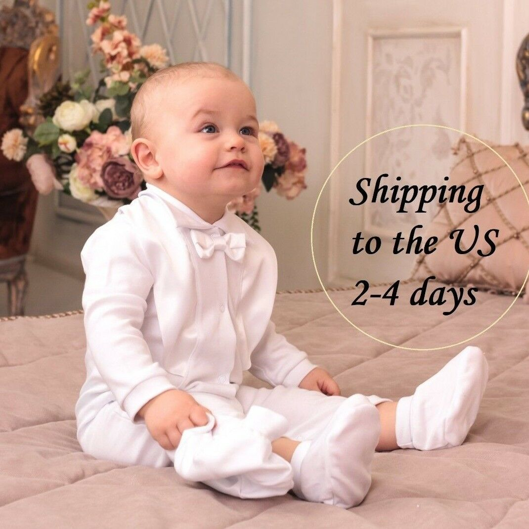 Baby Boys 4 Pcs Christening Outfit Costume Christening Suit White Check